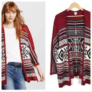 Mossimo Long Open Knit Cardigan Aztec Tribal Small
